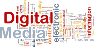 Background concept wordcloud illustration of electronic digital media